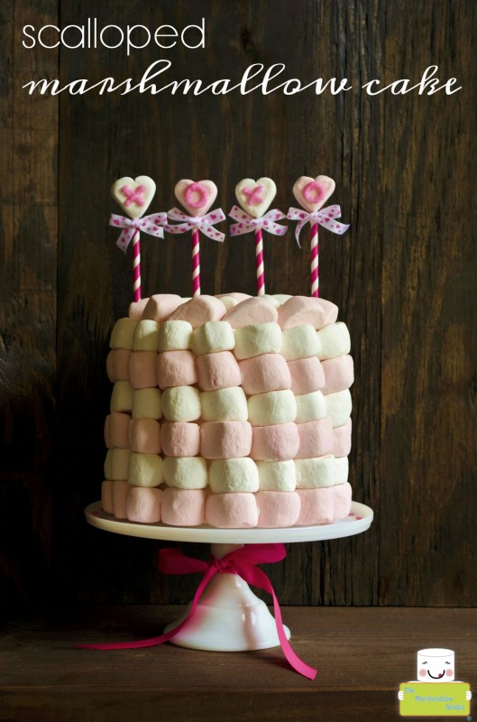 Scalloped Marshmallow Valentine's Day Cake by TheMarshmallowStudio