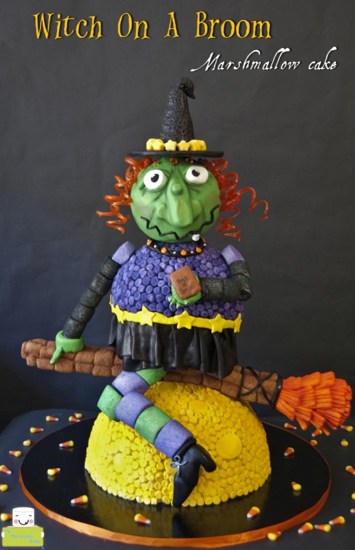 Witch on a Broom Marshmallow Cake by TheMarshmallowStudio