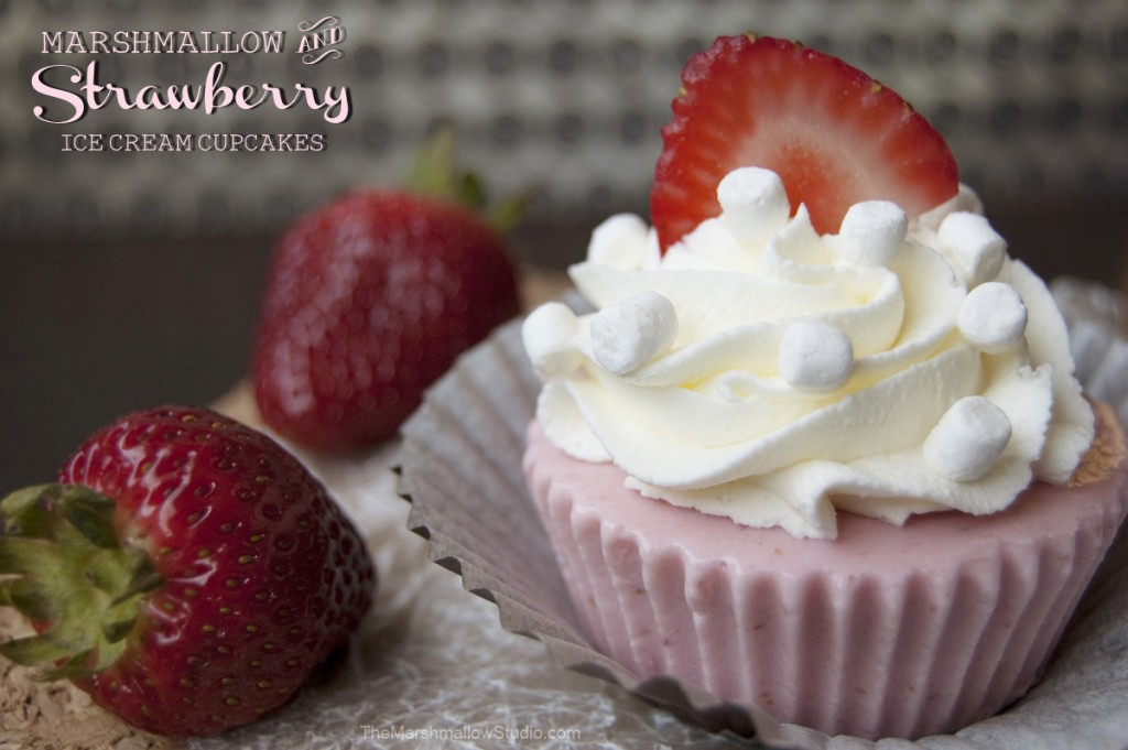 Marshmallow and Strawberry Ice Cream Cupcakes by The Marshmallow Studio