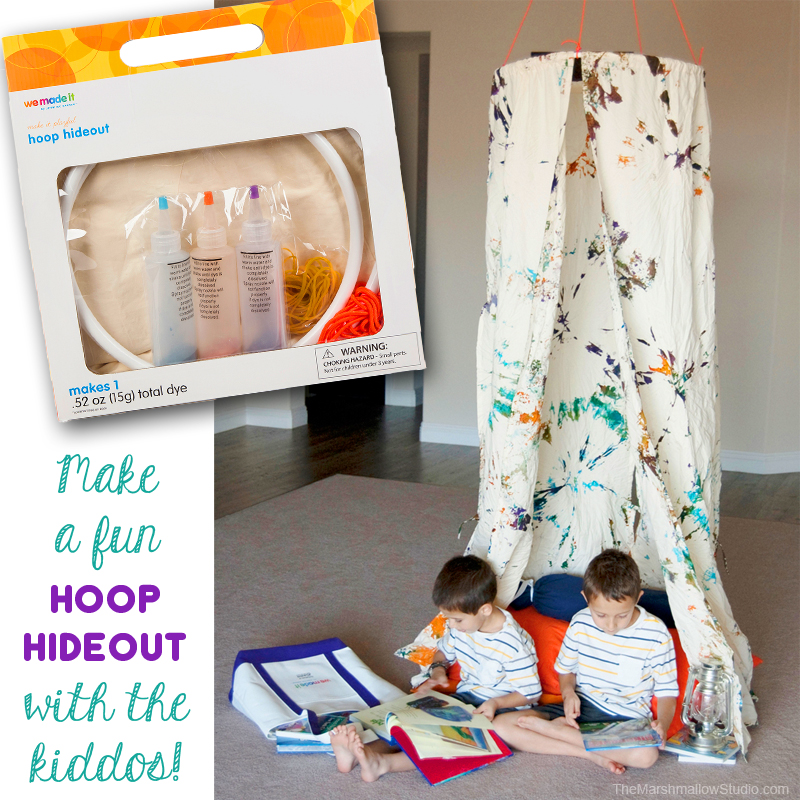 Super fun and easy to make Hoop Hideout using kit from We Made It by Jennifer Garner exclusively available at JoAnn Fabric and Crafts store.